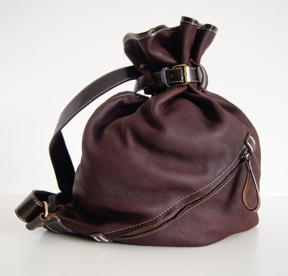 BUFALO BP03 BROWN  коричневый кожаный рюкзак-мешок